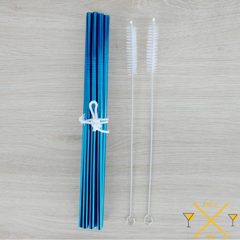 Lot de 10 paille en inox bleu avec 1 goupillon, pailleinox.fr une entreprise française