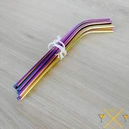 Lot de 10 pailles courbées rainbow couleur licorne avec 2 goupillons