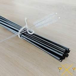Ces pailles en inox noir sont livrées avec 1 goupillon, choisissez la qualité avec pailleinox.fr
