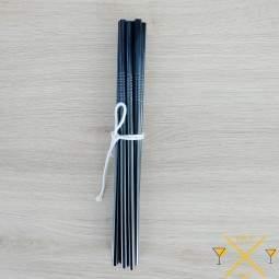 paille inox droite de couleur noir avec un logo gravé en France