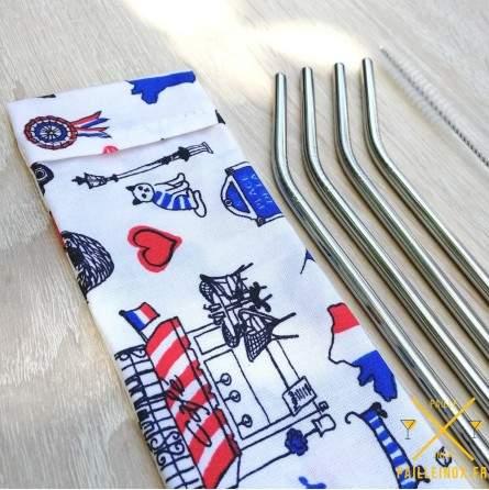 Pochettes avec rabat en coton enduit convient pour toutes sortes de pailles