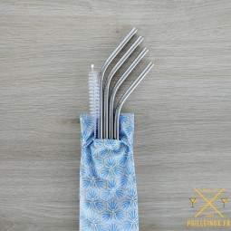 Pochette en coton enduit pour 4 pailles et 1 goupillon