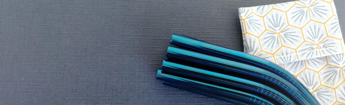 Pochette en tissu pour pailles en inox